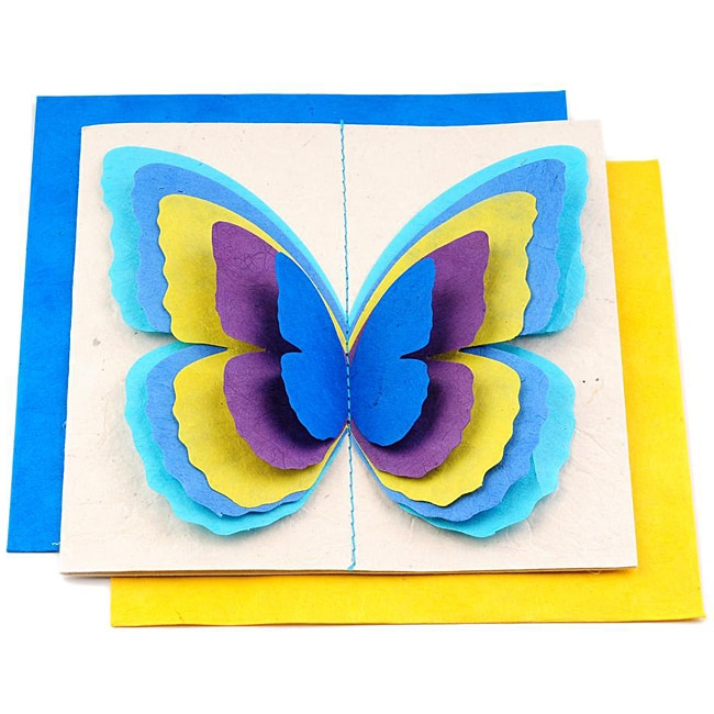 Set of 5 Lokta Paper 3D Ocean Magic Butterflies Note Cards (Nepal)