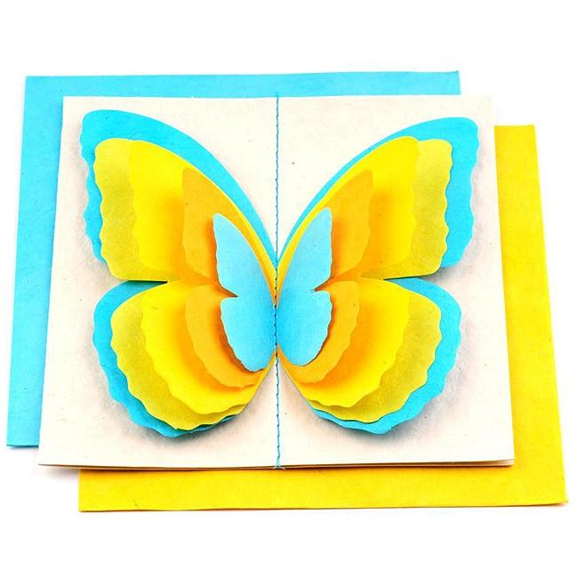 Set of 5 Lokta Paper 3D Blue Magic Butterflies Note Cards (Nepal)
