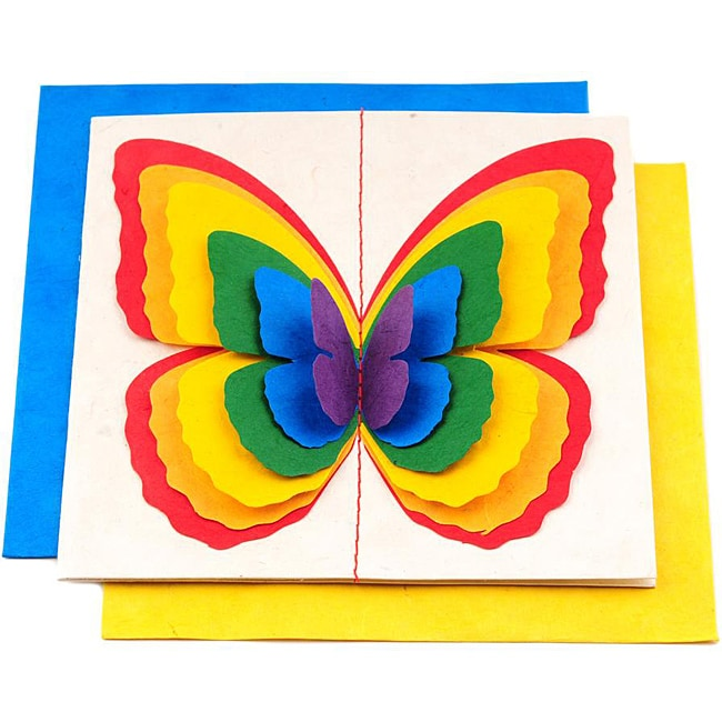 Set of 5 Lokta Paper 3D Rainbow Magic Butterflies Note Cards (Nepal)