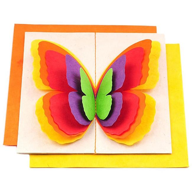 Set of 5 Lokta Paper 3D Orange Magic Butterflies Note Cards (Nepal)