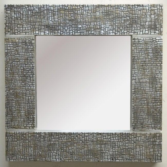 Square Silver Cobblestone Contemporary Mirror