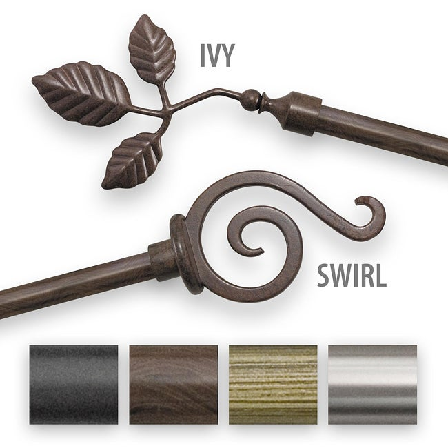 Finishing Touch 16 inch to 28 inch Adjustable Curtain Rod Set
