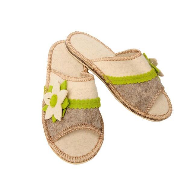 Women's Felt Wildflower Eco Slippers (Russia)