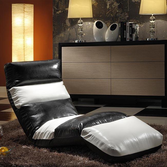 Naomi Black And White Memory Foam Floor Lounge Chair