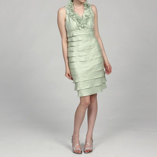 Thumbnail London Times Women X27 S Aqua Ruffle Collar Shutter Pleat Dress