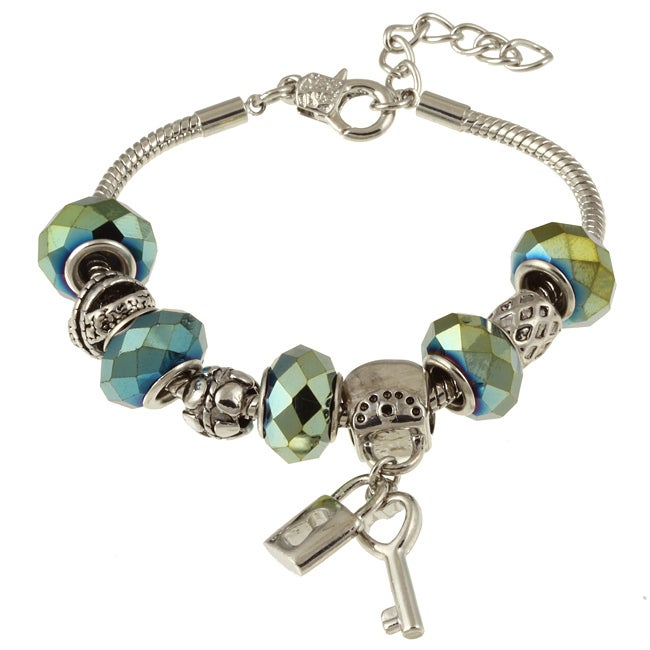 La Preciosa Silverplated Green Hematite Bead Bracelet