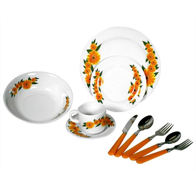 Alpine cuisine 39 yellow sunflower 39 40 piece melamine for Alpine cuisine glass bowl set