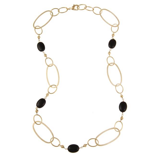 Rivka Friedman 18k Goldplated Black Bead Necklace