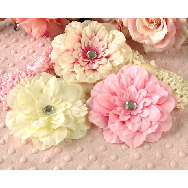 Pink and Cream 5-piece Headbands and Flowers Set