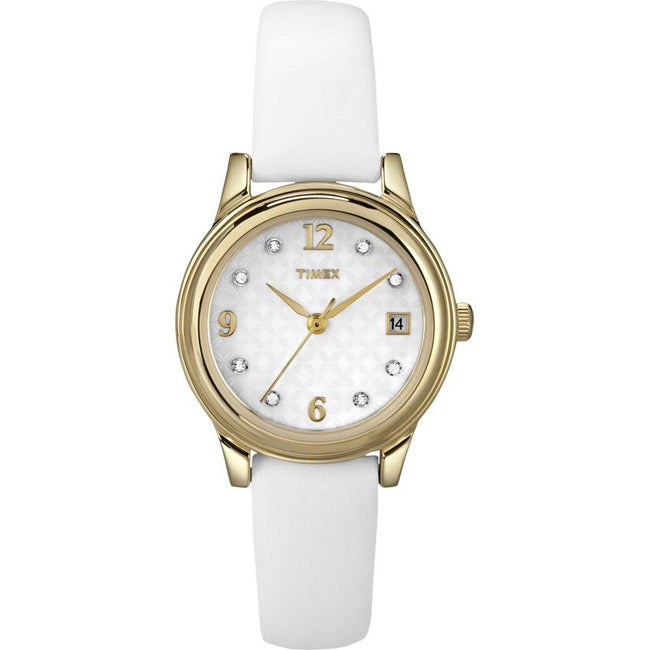 Timex T2N4499J Women's Elevated Classics Austrian Crystals Leather Strap Watch