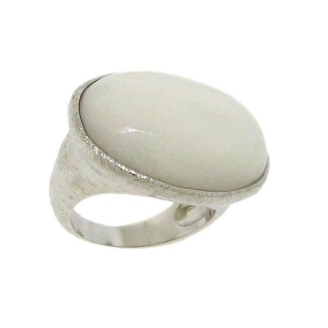 Silvertone White Jade Ring