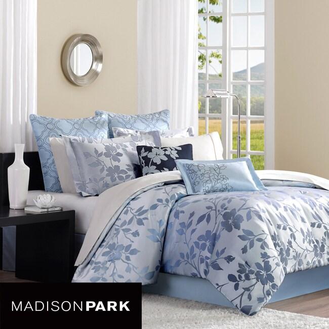 Madison Park Charlotte Blue 8-piece Queen-size Comforter Set