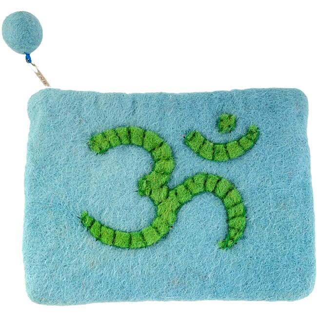 Wool Felt Sky Blue/ Green Ohm Change Wallet (Nepal)