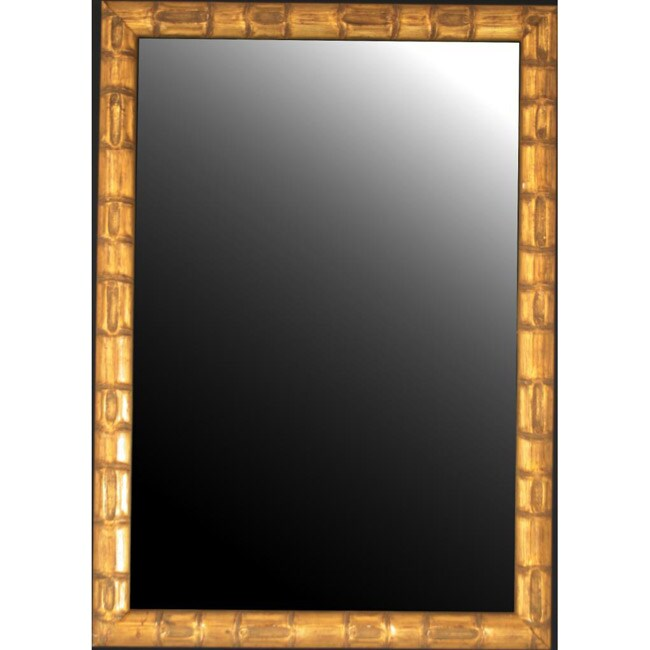 rounded gold bamboo mirror