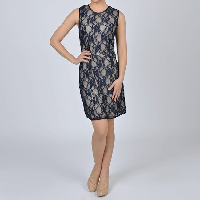 66ff35581cc Shop Sharagano Women s Navy Nude Lace Dress - Free Shipping Today -  Overstock - 5961218