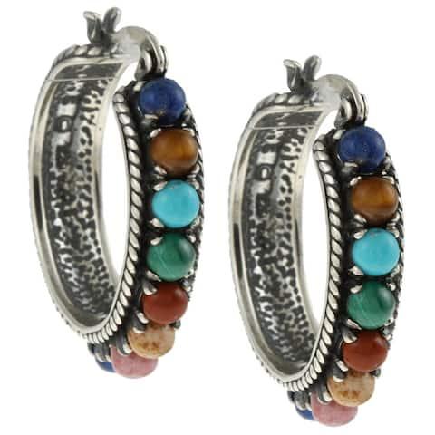 Southwest Moon Sterling Silver Multi-gemstone Beaded Hoop Earrings