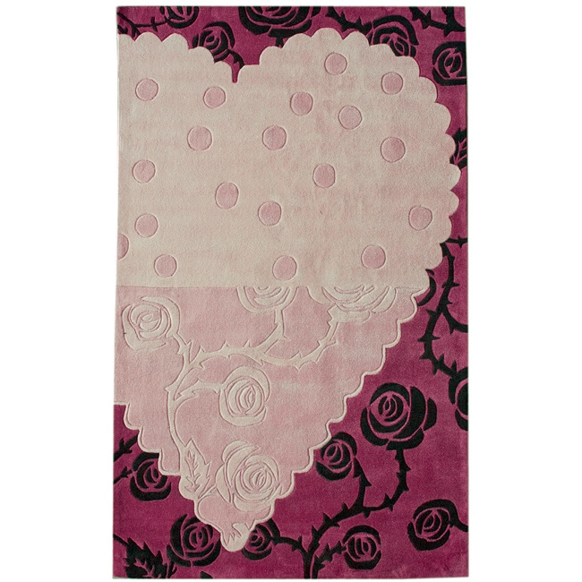 nuLOOM Handmade Pino Heart and Rose Floral Rug (7'6 x 9'6)