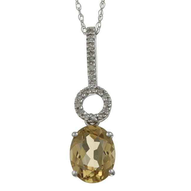 Viducci 10k Gold Citrine and 1/10ct TDW Diamond Necklace (G-H, I1-I2)