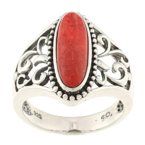 Southwest Moon Sterling Silver Red Coral Filigree Ring