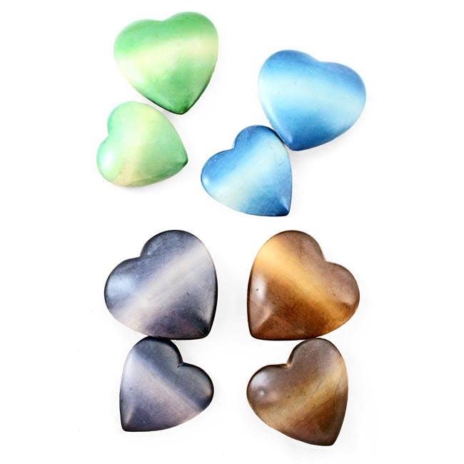 Set of 2 Soapstone Maridadi Heart Paperweights (Kenya)