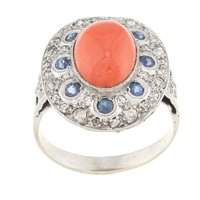 18k White Gold Coral, Sapphire and 3/5ct TDW Diamond Estate Ring (J-K, SI1-SI2)