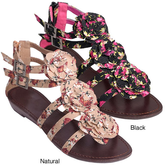 Journee Collection Women's 'Sprout-77' Floral Print Low Wedge Sandals