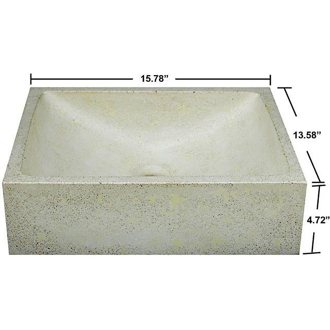Concrete Cream Half Moon Sink