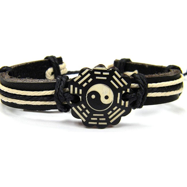 Leather Yin/Yang Bracelet (Thailand)
