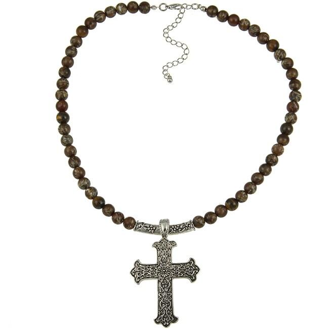 Crystale Tiger Eye Cross Necklace