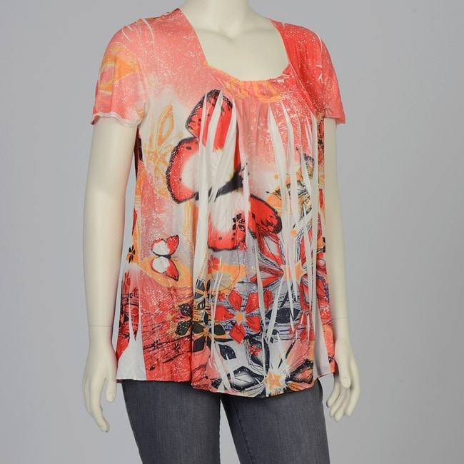 Simply Irresistible Women's Plus Size Orange Butterfly Short-sleeve Top