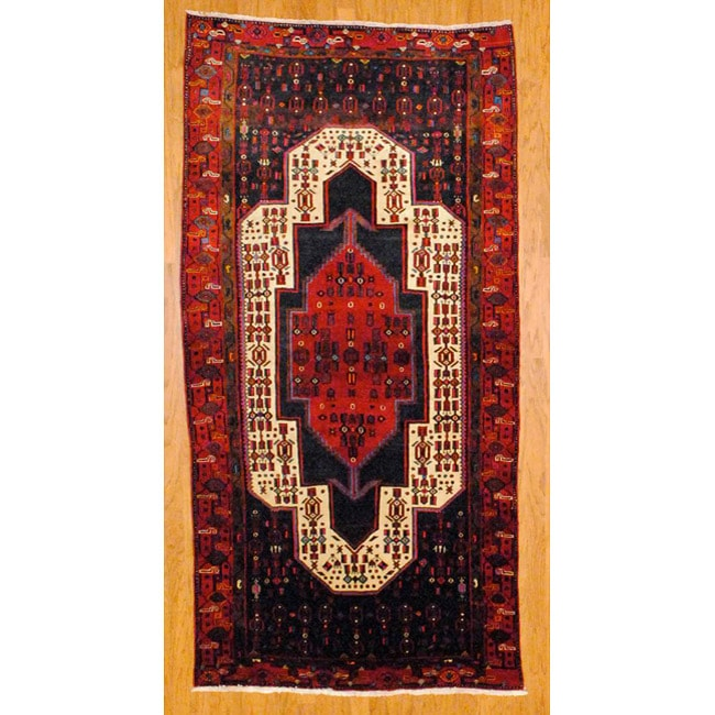 Shop Persian Hand Knotted Ivory Red Hamadan Wool Rug 4 8
