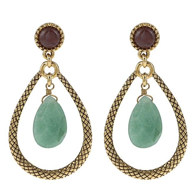 Carolee Goldtone 'Think Green' Simulated Aventurine and Amethyst Earrings