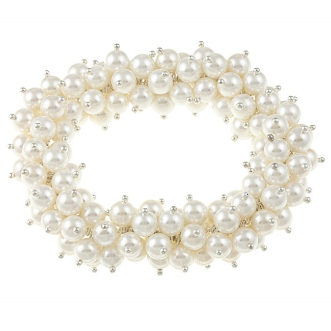 La Preciosa White Shell Pearl Stretch Bracelet
