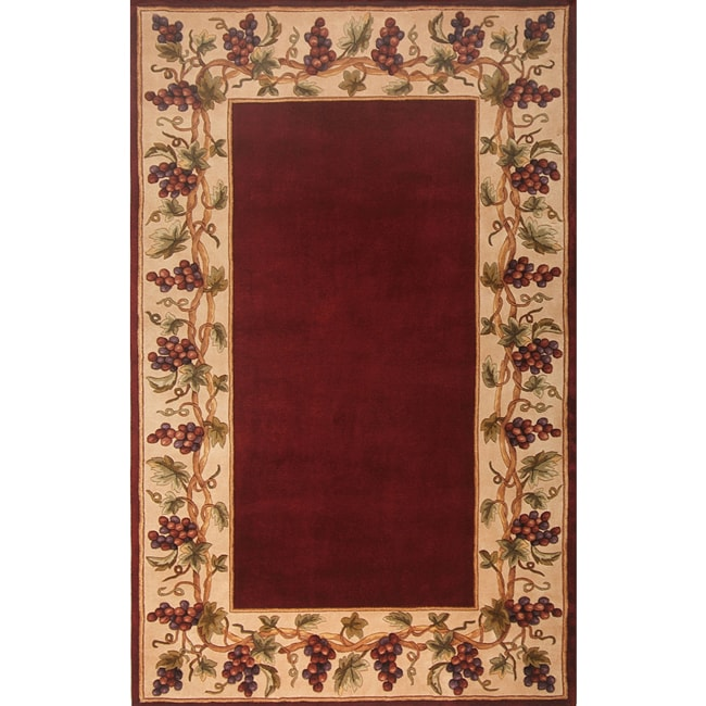 Shop Hand Tufted Emerald Bordeaux Grapes Wool Rug 8 X 11