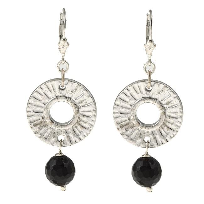 Lola's Jewelry Silvertone Onyx Radiant Sun Earrings