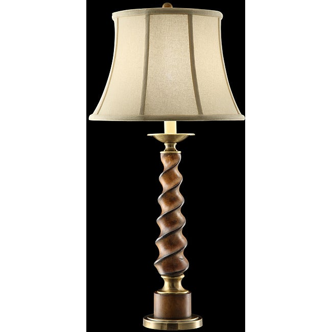 Shop Tall Twisted Wood Table Lamp Free Shipping Today Overstock