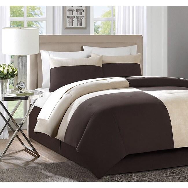 Myles Tan/ Brown 4-piece Comforter Set