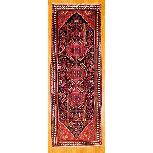 Shop Persian Hand Knotted Black Ivory Tribal Hamadan Wool