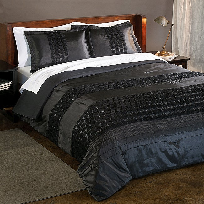 Midnight Rosette 2-piece Twin-size Comforter Set