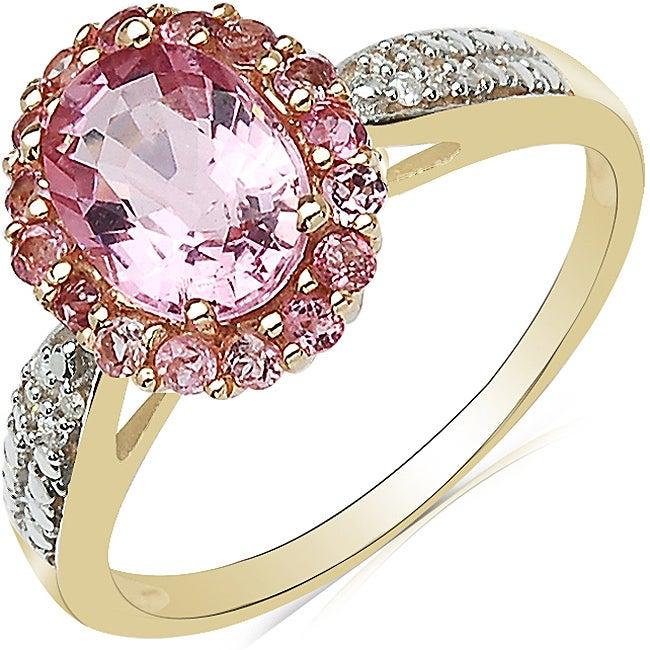 Malaika 10k Yellow Gold Pink Tourmaline and Diamond Accent Ring