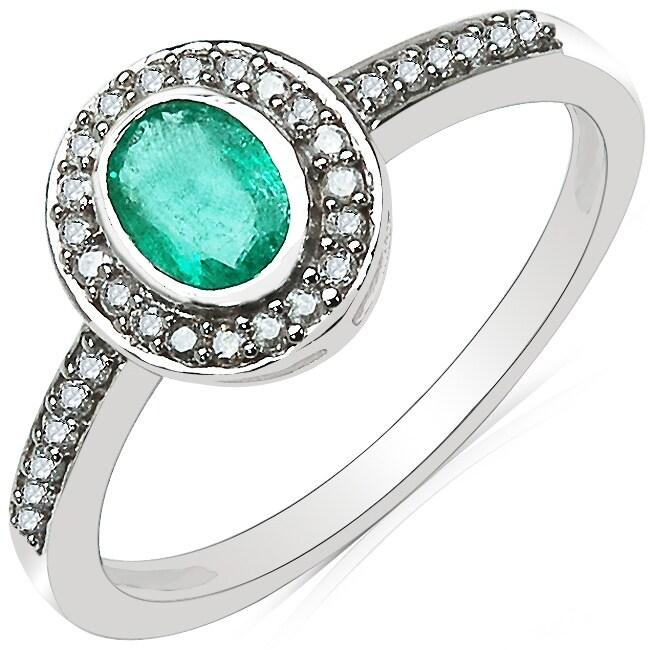 Malaika 10k White Gold Emerald and 1/6ct TDW Diamond Ring (J-K, I2-I3)