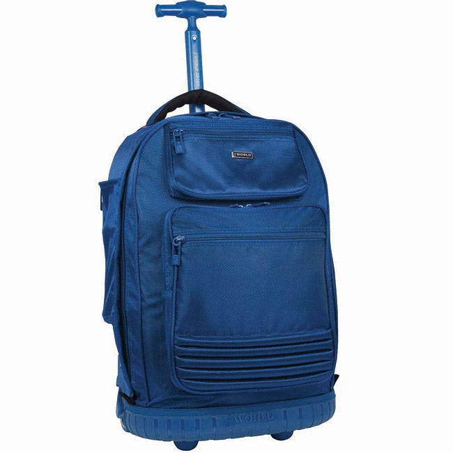 J World 'Parkway' 20-inch Navy Rolling Laptop Backpack