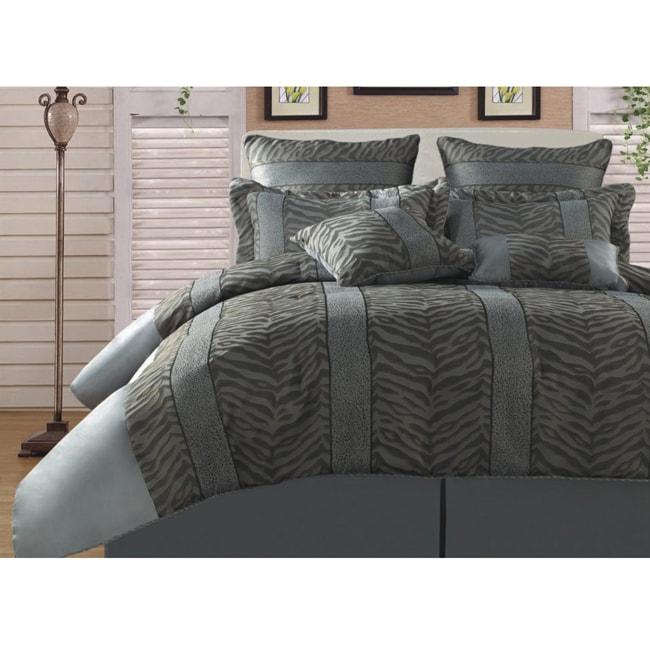 Kenya Zebra Leopard Silver/ Black 8-piece Queen-size Comforter Set