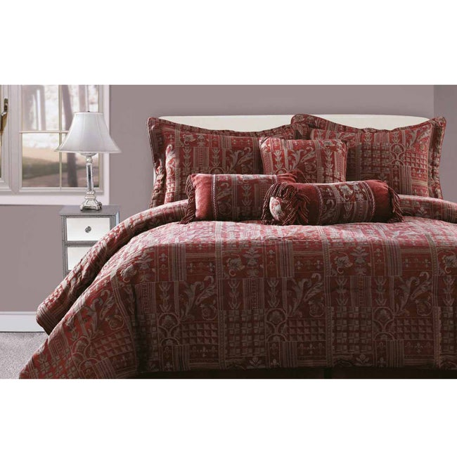 Felicity Burgundy/ Gold 7-piece Chenille King-size Comforter Set