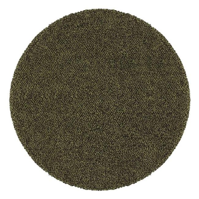 Manhattan Tweed Green/ Brown Shag Rug (6' Round)