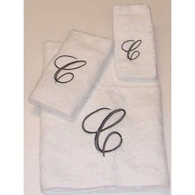 Avanti Silver Scroll 'C' Monogram 3-piece Towel Set