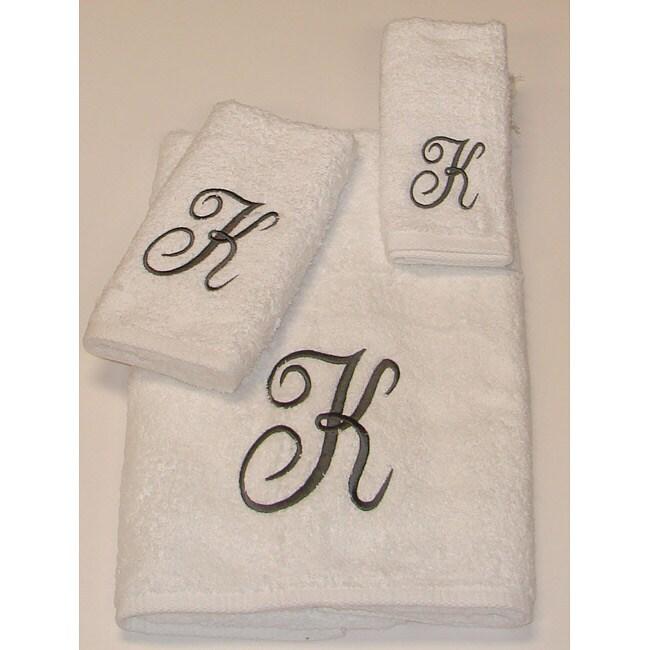 Avanti Silver Scroll 'K' Monogram 3-piece Towel Set