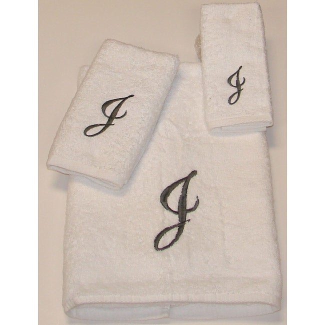 Avanti Silver Scroll 'J' Monogram 3-piece Towel Set