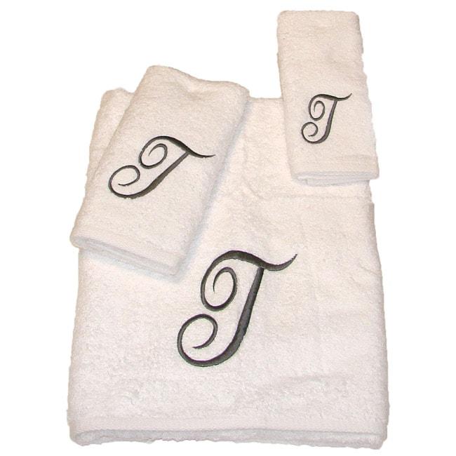 Avanti Silver Scroll 'T' Monogram 3-piece Towel Set