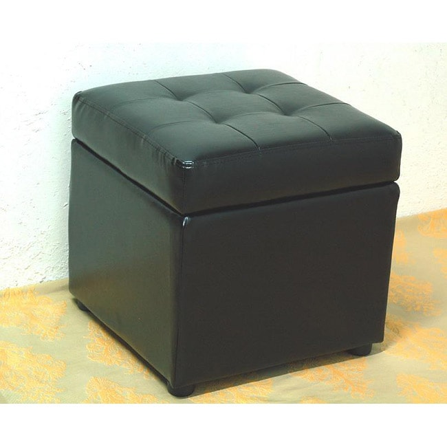 Bi-cast Leather Black Storage Ottoman - Thumbnail 0